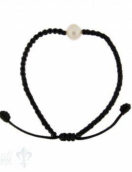 Viskose-Armband mit Perle:schwarz 1-reihig, Grösse verstellbar