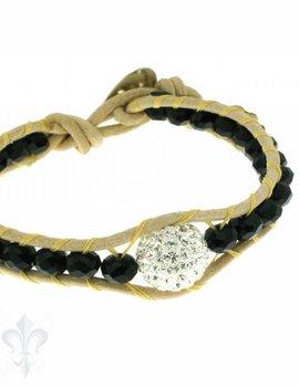 Leather Wrap Bracelet: black cristal, 17 cm 1 x Handgelenk