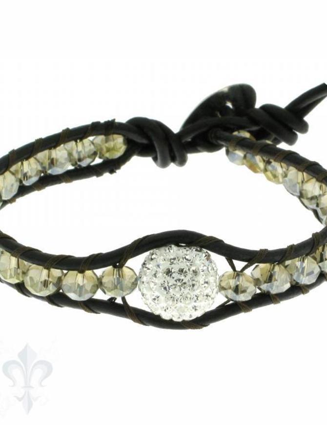 Leather Wrap Bracelet: smokey cristal, 17 cm 1 x Handgelenk