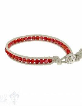 Leather Wrap Bracelet: red cristal, 17 cm 1 x Handgelenk