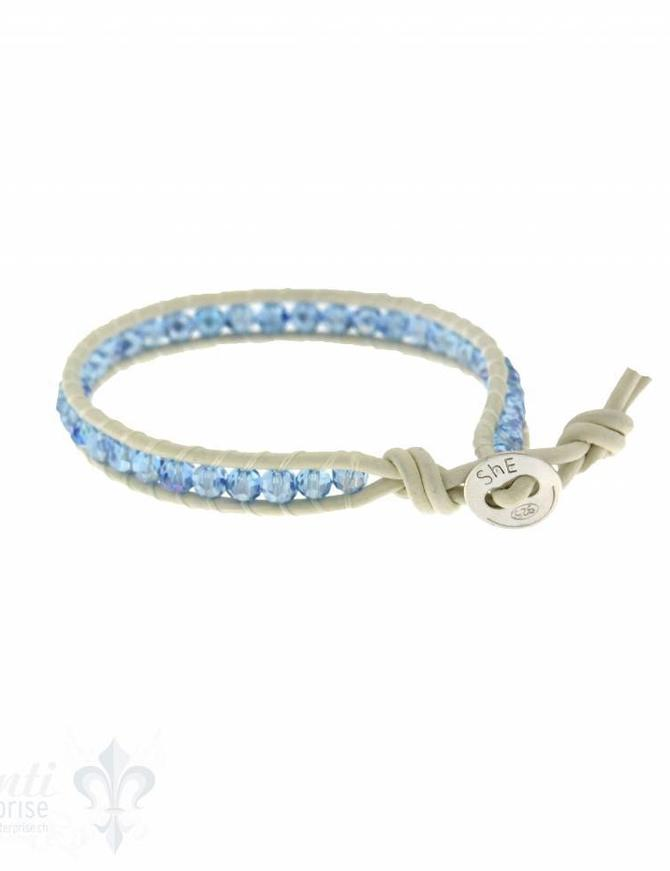 Leather Wrap Bracelet: Sky blue cristal, 17 cm 1 x Handgelenk