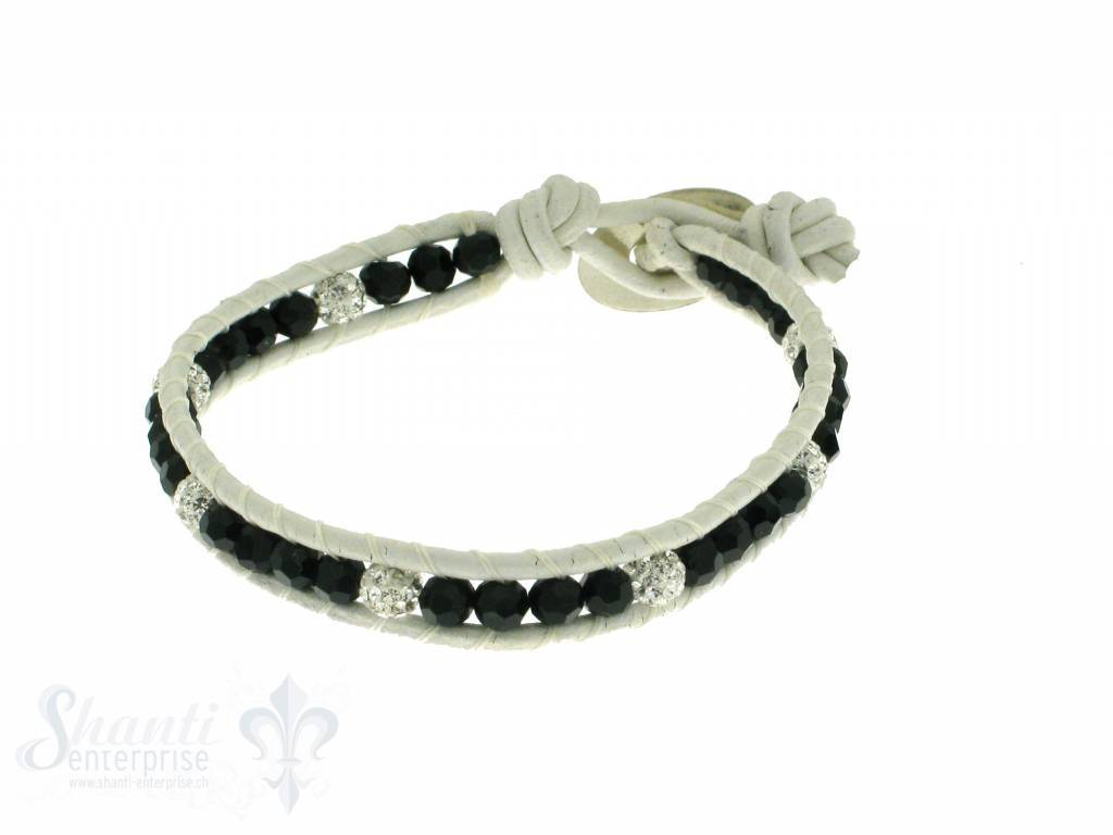 Leather Wrap Bracelet: black cristal, 17 cm 1 x Handgelenk