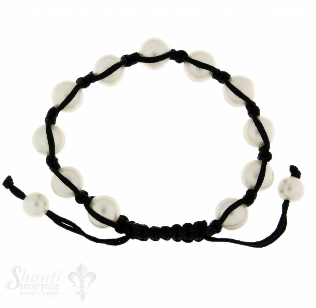 Viskose-Armband mit 11 Perlen weiss verstellbar 1 x Handgelenk