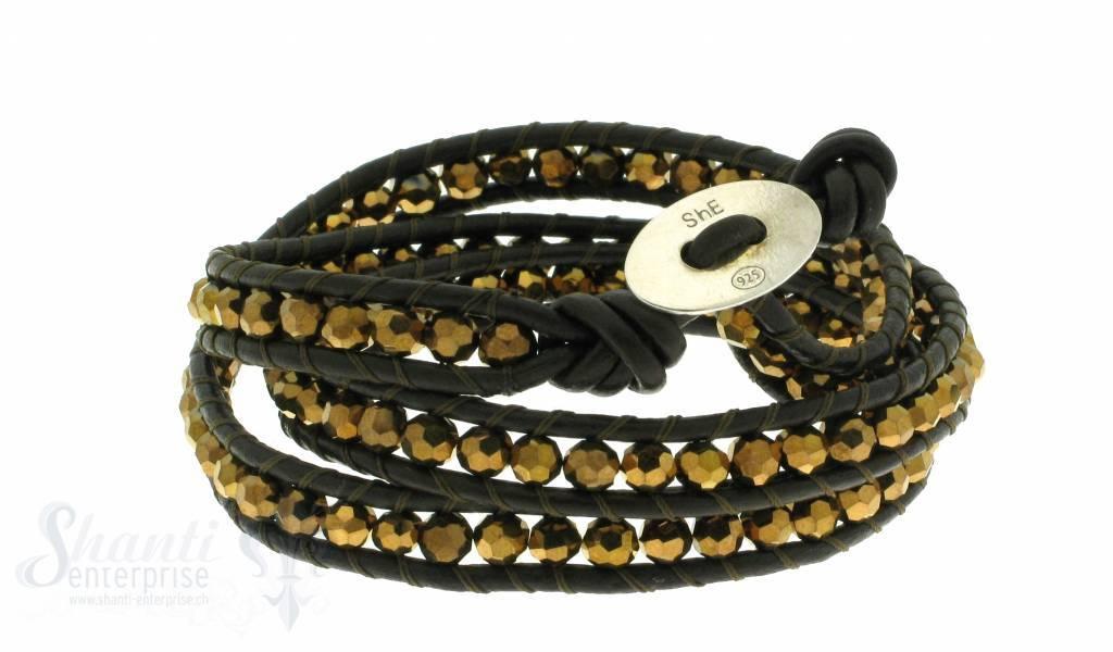 Leather Wrap Bracelet: gold cristal, 50 cm 3 x Handgelenk