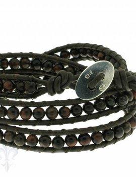 Leather Wrap Bracelet: Brekzienjaspis, 50 cm 3 x Handgelenk