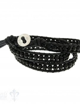 Leather Wrap Bracelet: black cristal, 50 cm 3 x Handgelenk