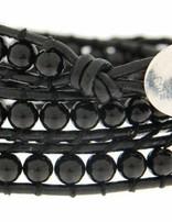 Leather Wrap Bracelet: Onyx 50 cm 3 x Handgelenk