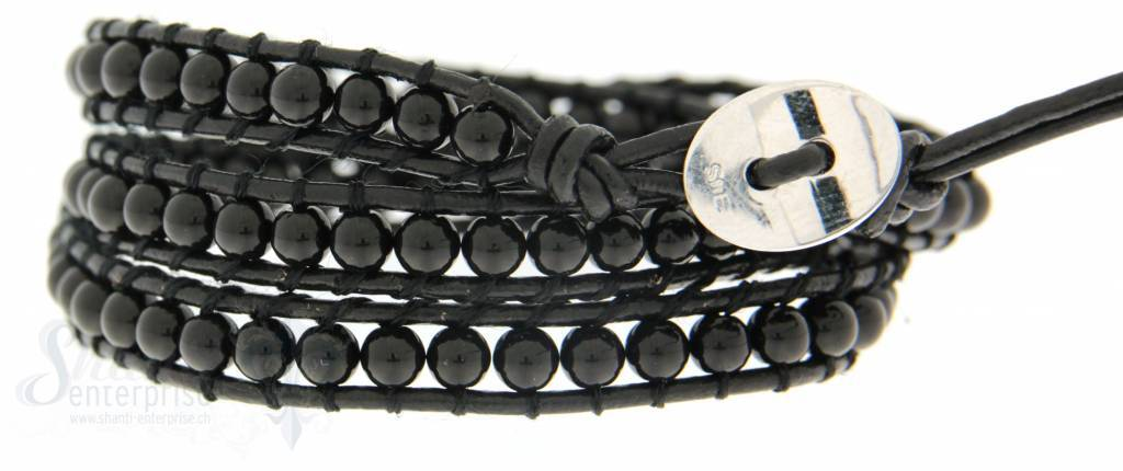 Leather Wrap Bracelet: Onyx 50 cm 3 x Handgelenk
