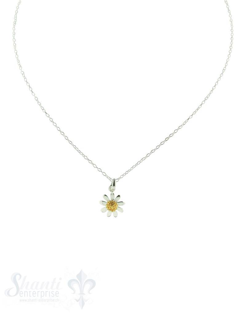Silberkette: Blume mit Zirkonia 40cm Federring, Anker 0.9x1.2mm