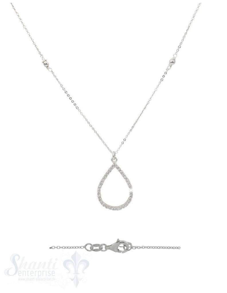 Silberkette: Tropfen mit Zirkonia 42 cm. Karabiner, Anker 0,9x1,2 mm