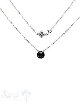 """Silberkette: """"Make a wish"""" rund mit Blume 45 cm"""