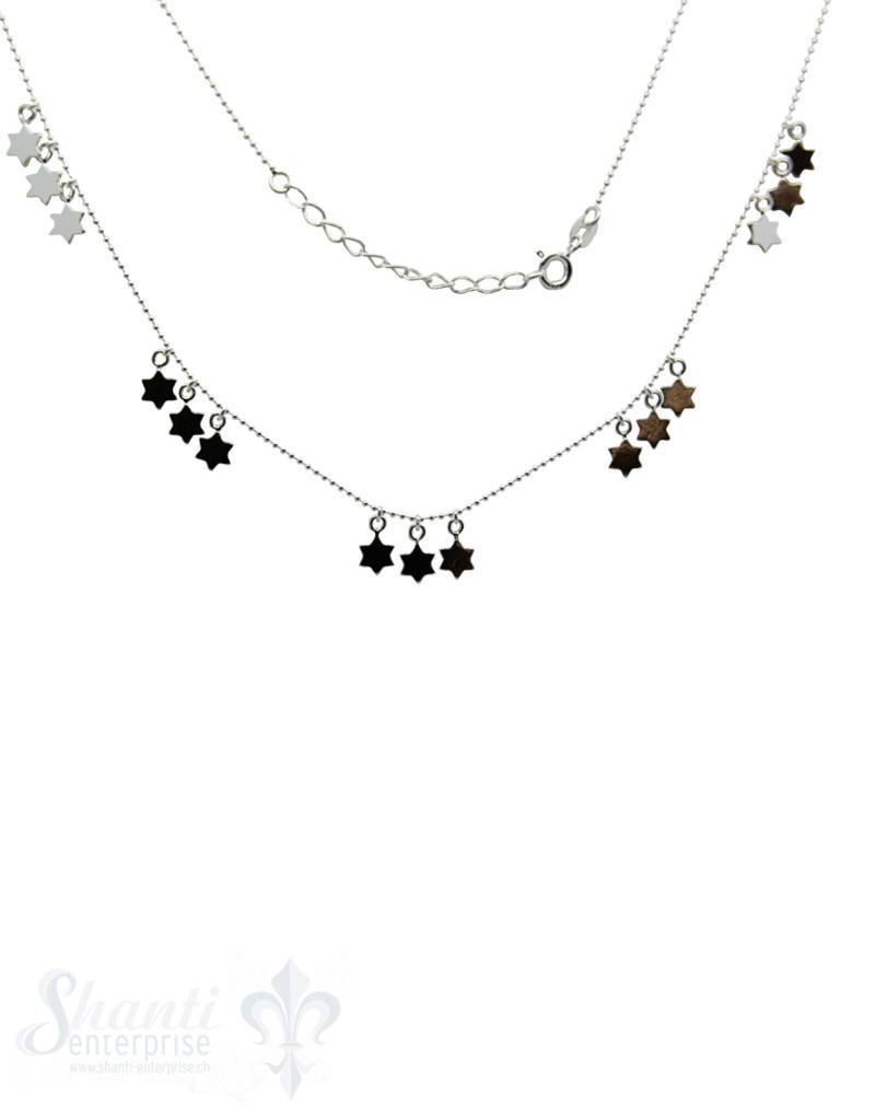 Silberkette: Kügeli + 5x3 Sterne: Karabiner 42-45cm