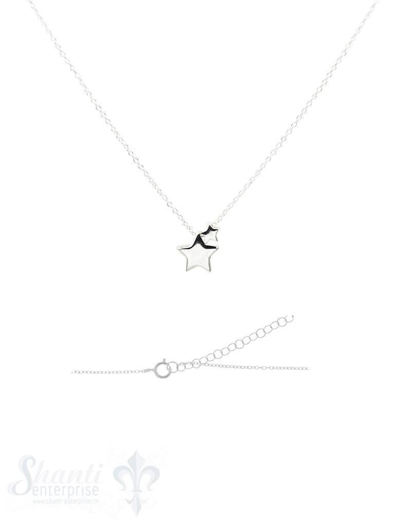 Silberkette: mit 2 Sternen Federring, Anker verstellbar 42/45 cm