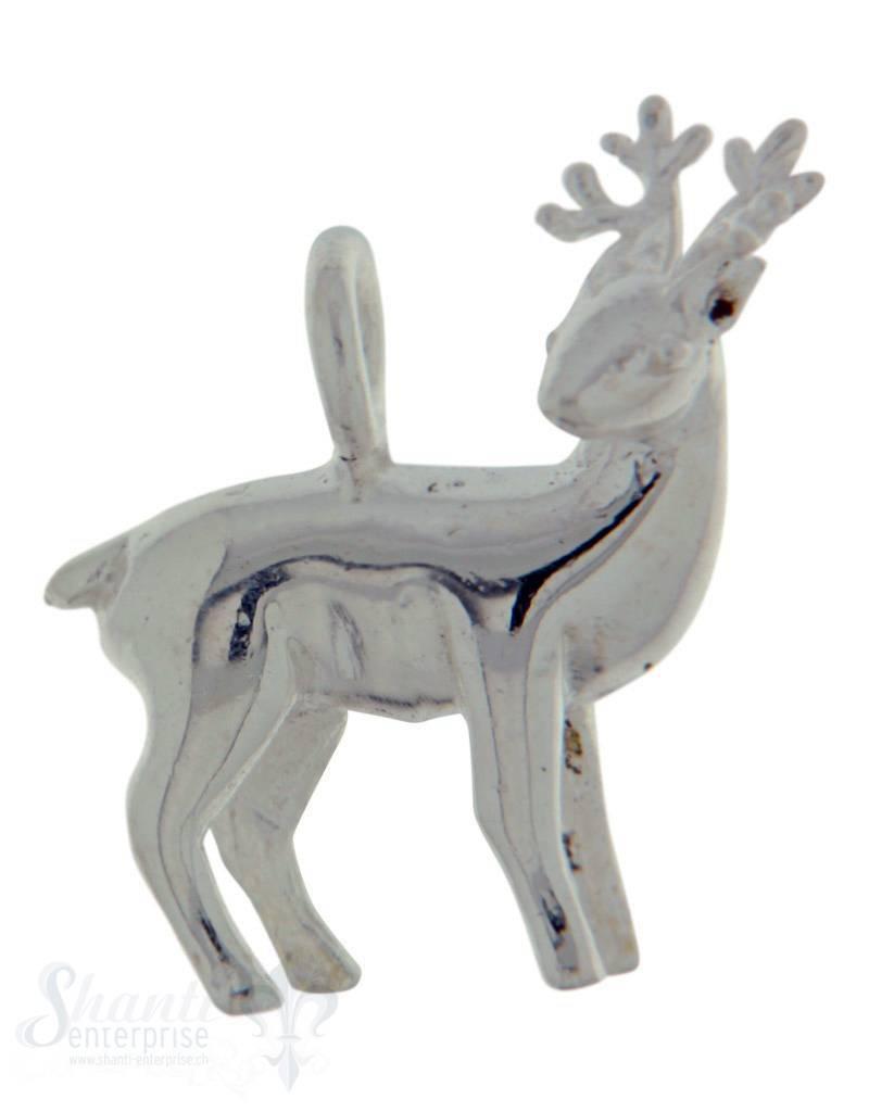 Silbertier: Hirsch poliert 16x14mm Dicke: 4mm
