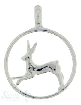 Silbertier: springender Hase im Reif poliert 28 mm Dicke:3mm