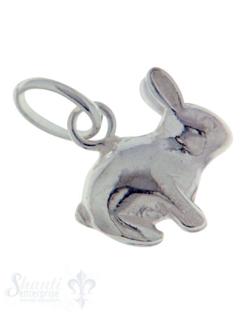 Silbertier: sitzender Hase poliert 12x11 mm Dicke:5.5mm