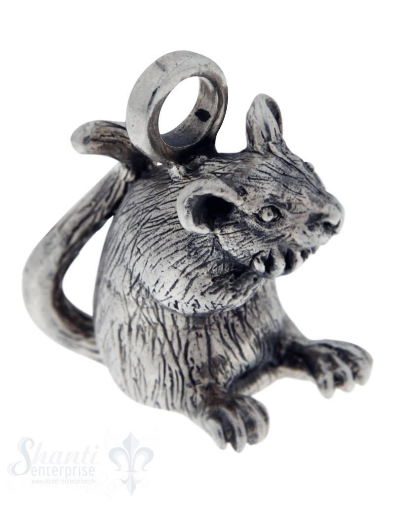 Silbertier: Ratte mit Struktur 23x22 mm Dicke:11mm