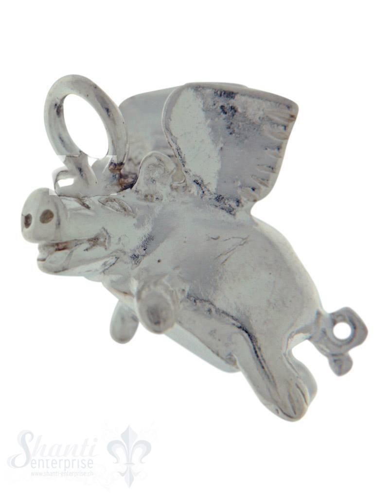 Silbertier: Nielpferd mit Flügel 18x9 mm Dicke:8mm