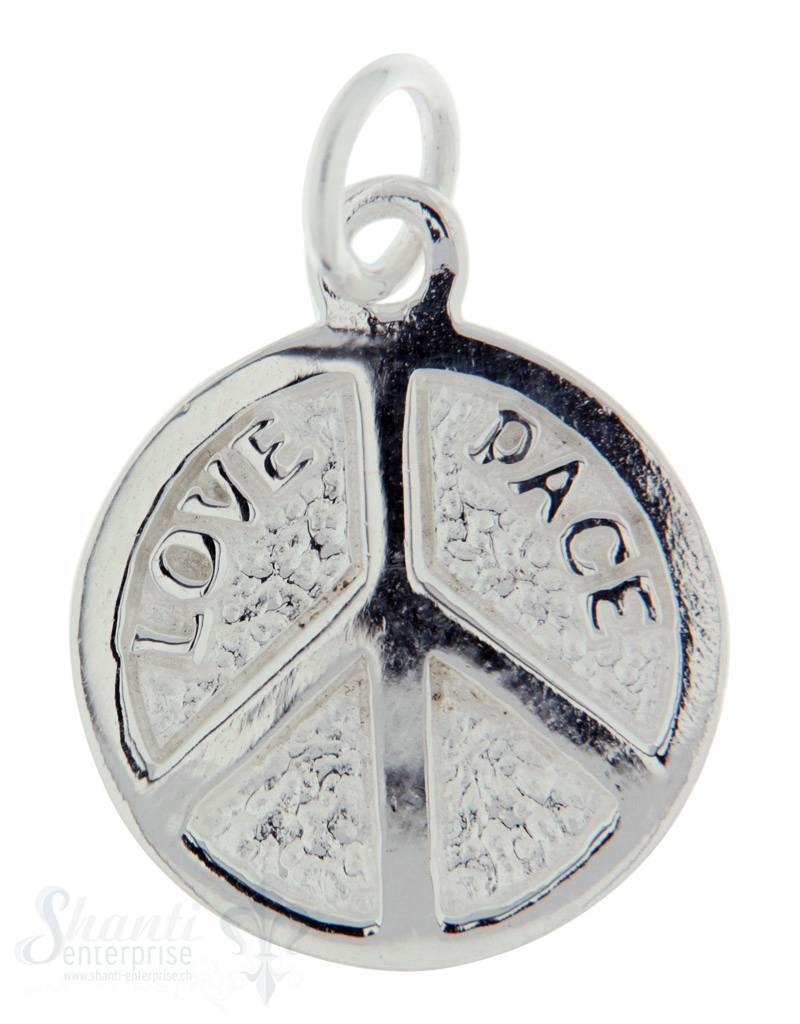 Silberanhänger Peace flach 20 mm mit Öse