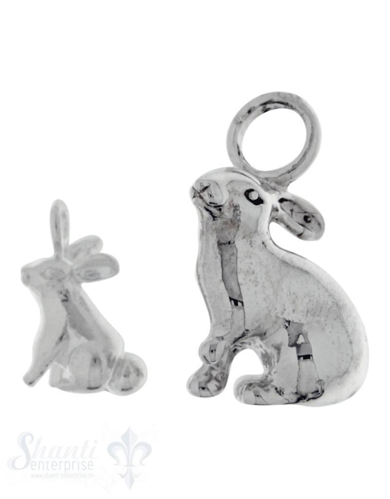 Silbertier: sitzender Hase poliert Dicke:5mm
