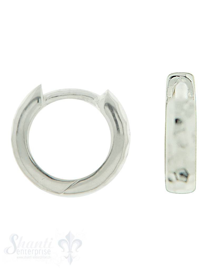 Si-Creolen gehämmert mit Clickverschluss: 2,8 mm Grösse: 10 mm