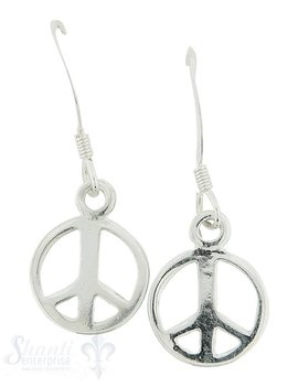 Ohrhänger mit Bügel:Silber Peace-Zeichen 11 mm