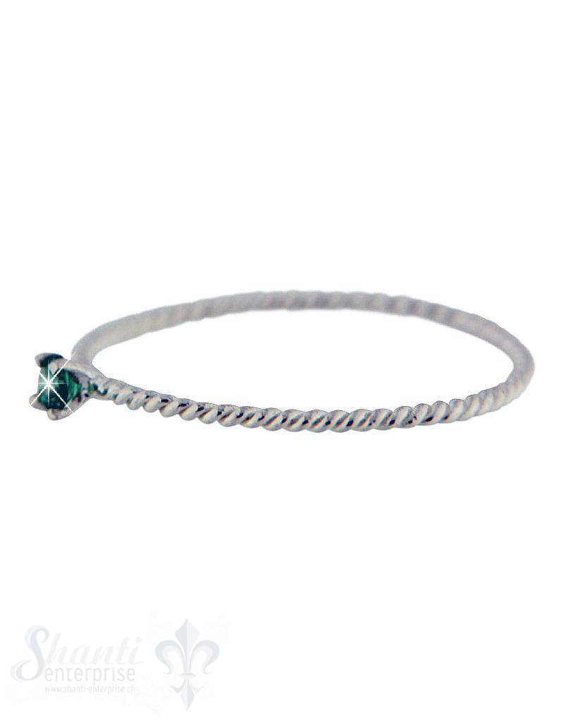 Silberring:fein gedreht m. Zirkonia grün aufgesetz