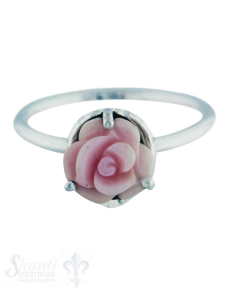 Silberring: mit Rose rosafarbig