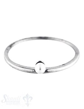 Silberring: fein mit Perle mini seitlich