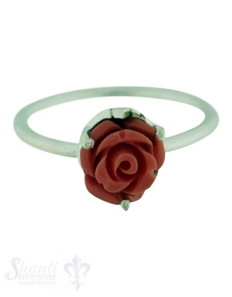 Silberring: mit Rose coralfarbig