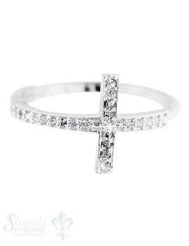 Silberring Kreuz mit Zirkonia weiss