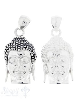 Silberanhänger: Buddhakopf poliert/geschwärzt 35x20 mm Dicke: 13mm