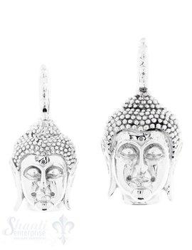 Silber-Anhänger:Buddhakopf mit Oese gekerbt poliert
