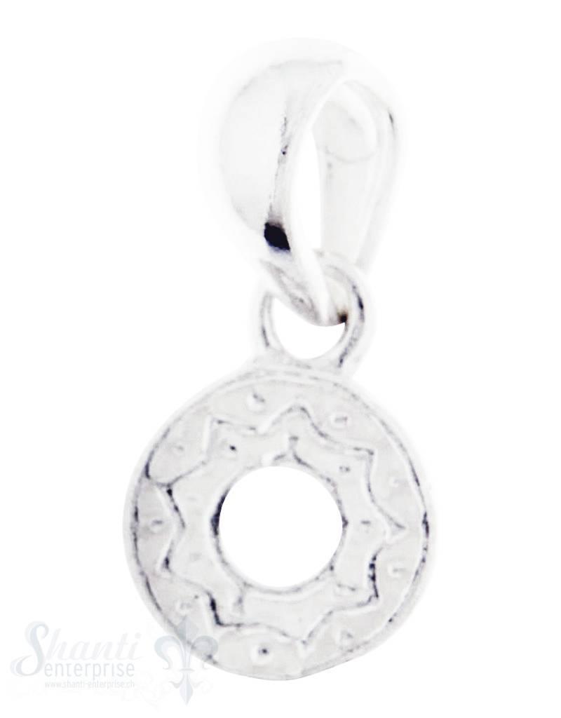 Silberanhängerr:mini Amulett mit Struktur D: 6mm mit Öse