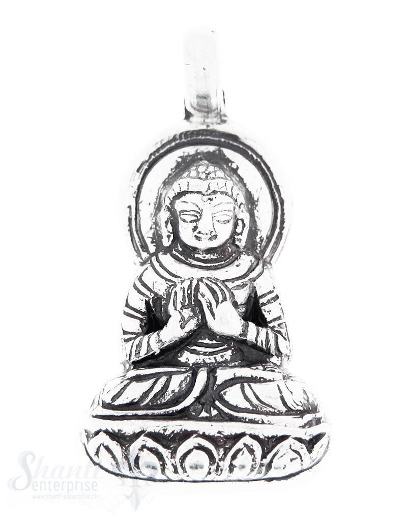 Silberanhänger: Buddha geschwärzt 30x16 mm Dicke: 5mm