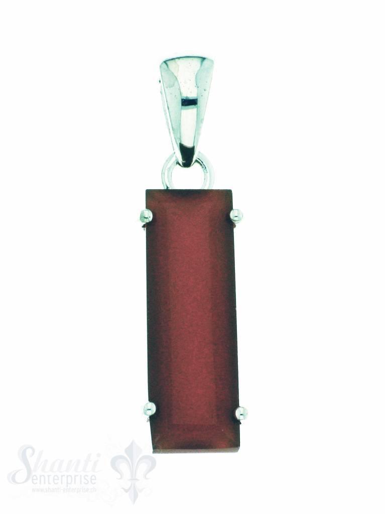 Silber-Anhänger: Rechteck: Karneol orange 9x20 mm