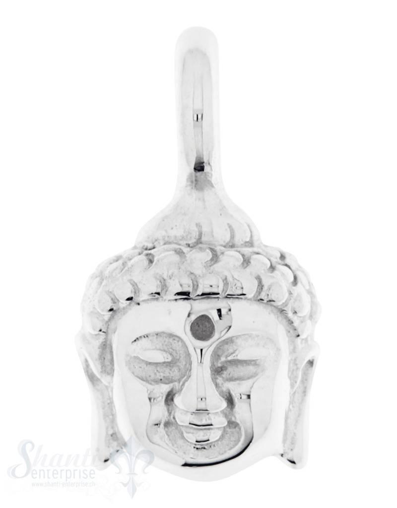 Silber-Anhänger:Buddhakopf mit Oese poliert 9x10 mm