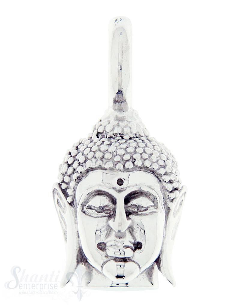 Silber-Anhänger:Buddhakopf mit Oese Haare sandgestrahlt 10x14 mm