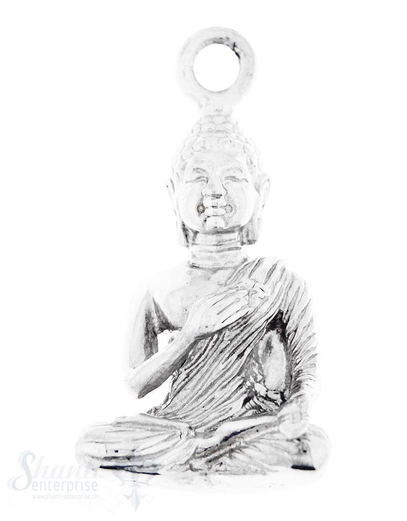 Silber-Anhänger:Buddha meditierend mit Oese poliert 13x22 mm