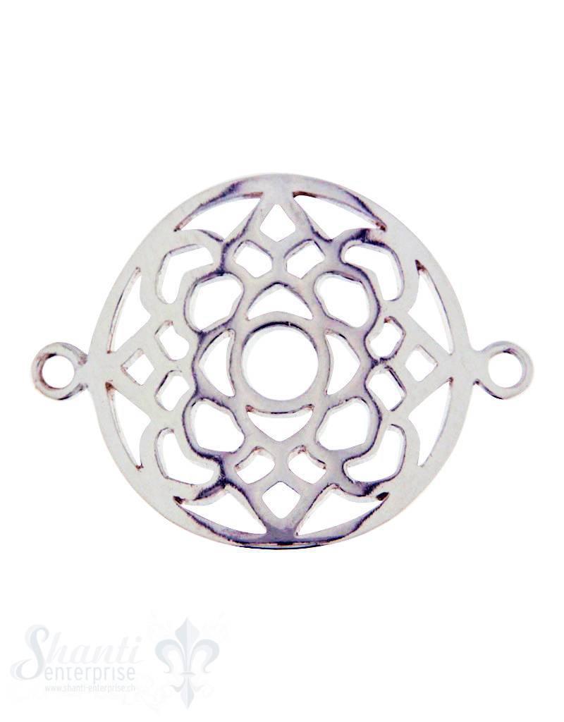 Silberteil mit Doppelösen: Amulett 24x18mm durchbrochen gebogen