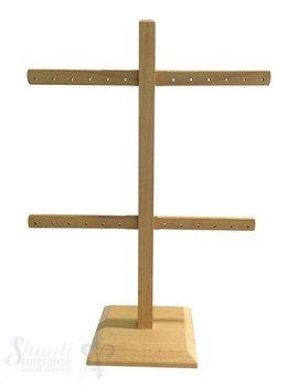 Display Buchen- Holz: Ohrhänger-Ständer für 24 Paar Ohrhänger/Stecker mit Fuss 22x28 cm