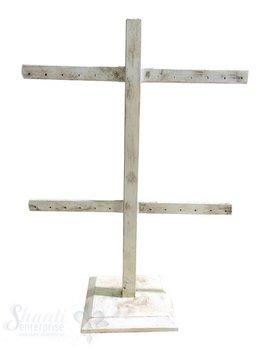 Display Buchen- Holz: Ohrhänger-Ständer für 24 Paar Ohrhänger/Stecker mit Fuss 22x28 cm weiss-antik
