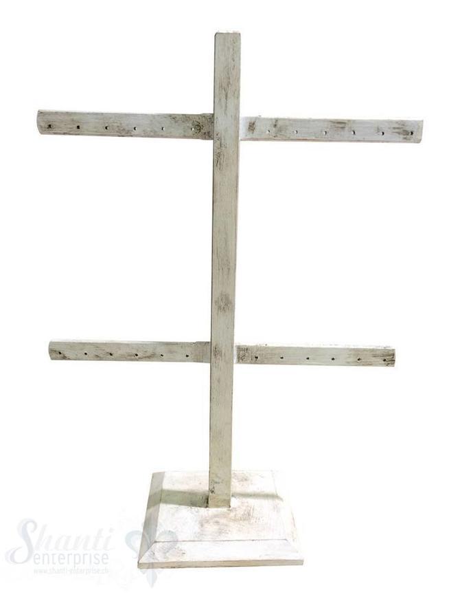 Display Buchen- Holz: Ohrhänger-Ständer für 12 Paar Ohrhänger/Stecker mit Fuss 22x28 cm weiss-antik