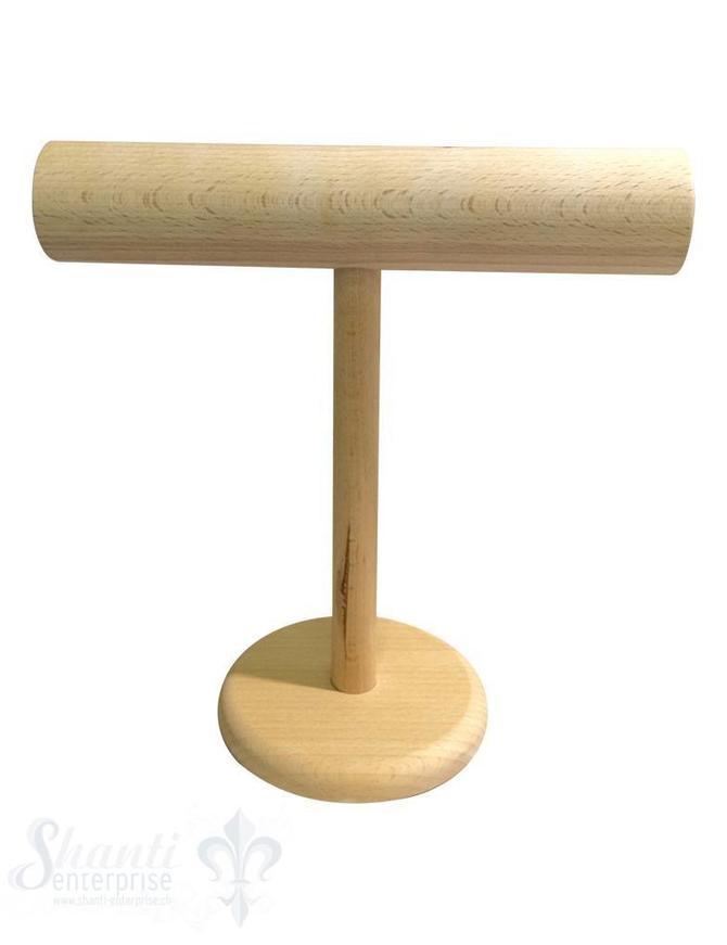 Display Buchen- Holz: Armband-Ständer hoch 60 mm mit Fuss 31x31 cm
