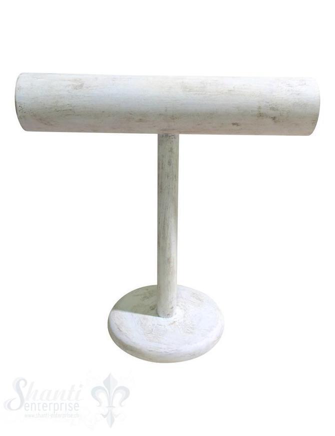 Display Buchen- Holz: Armband-Ständer hoch 60 mm mit Fuss 31x31 cm weiss-antik