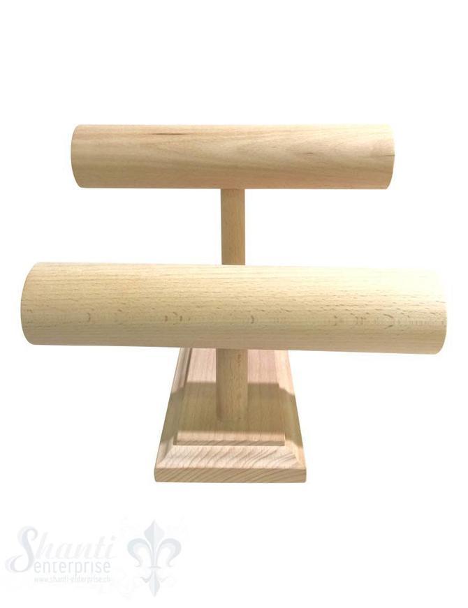 Display Buchen- Holz:Armband-Ständer doppeltD:60mm mit Fuss 12/24x29 cm