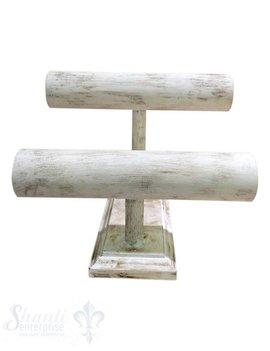 Display Buchen- Holz:Armband-Ständer doppeltD:60mm mit Fuss 12/24x29 cm weiss-antik