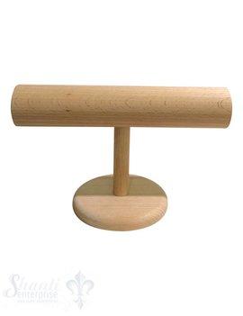 Display Buchen- Holz: Armband-Ständer D:60 mm mit Fuss klein 9 cm 31x18 cm