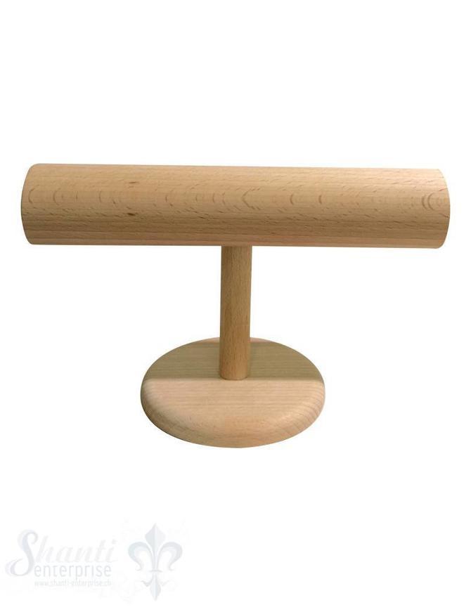 Display Buchen- Holz: Armband-Ständer D:60 mm mit Fuss klein 12cm 24x12 cm