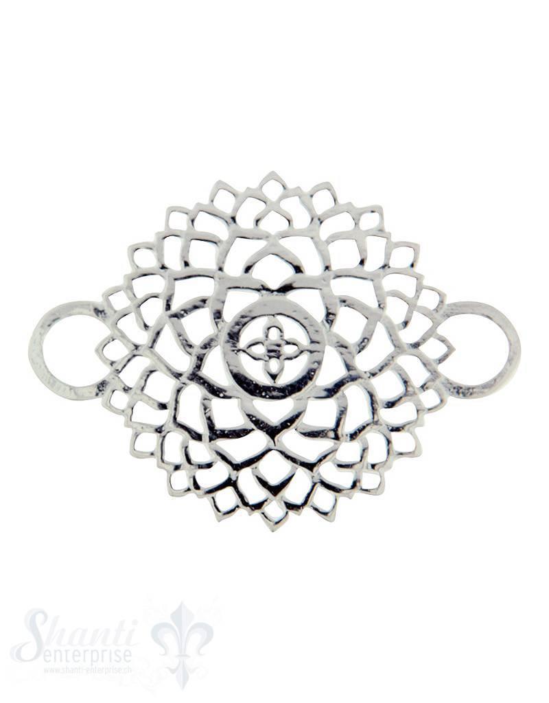 Silberteil mit Doppelösen: Blumenmuster 32x23mm durchbrochen